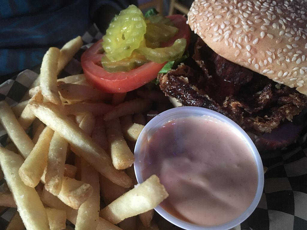 "Photo of Black Water Bar  by <a href=""/members/profile/Veg4Jay"">Veg4Jay</a> <br/>Western Burger w/ Fries <br/> November 12, 2017  - <a href='/contact/abuse/image/61091/324916'>Report</a>"