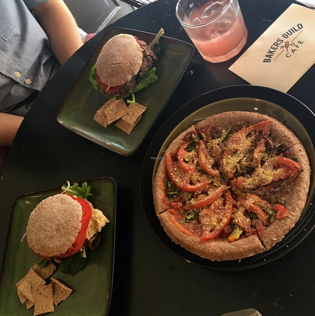 """Photo of Bakers Guild Cafe  by <a href=""""/members/profile/Thepennsyltuckyvegan"""">Thepennsyltuckyvegan</a> <br/>Black Bean Burger, Hummus Burger, Veggie Pizza, Kumbucha <br/> May 25, 2017  - <a href='/contact/abuse/image/61096/262264'>Report</a>"""