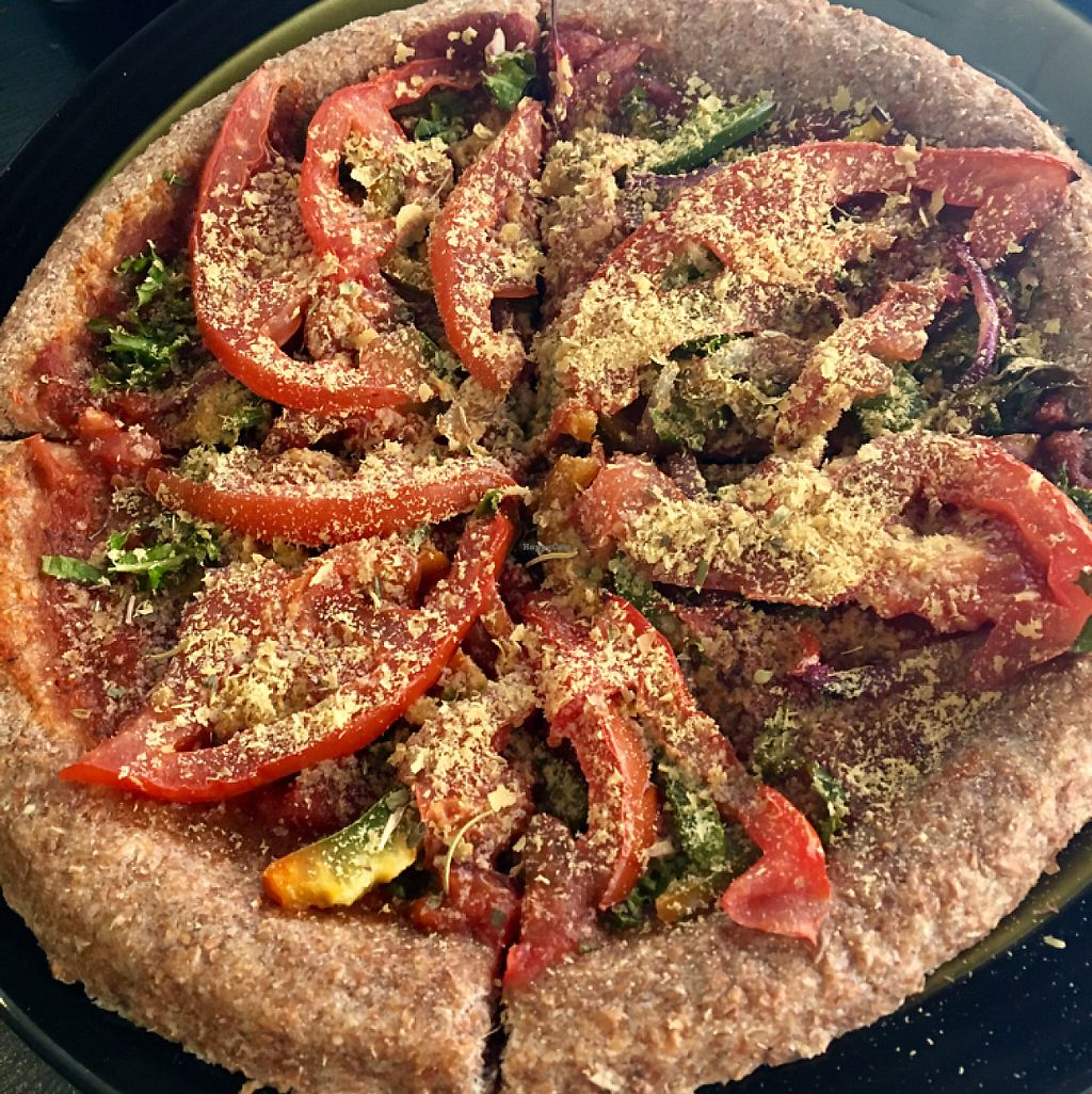 """Photo of Bakers Guild Cafe  by <a href=""""/members/profile/Thepennsyltuckyvegan"""">Thepennsyltuckyvegan</a> <br/>Veggie Pizza with nooch instead of cheese (accommodating for vegans) <br/> May 25, 2017  - <a href='/contact/abuse/image/61096/262265'>Report</a>"""