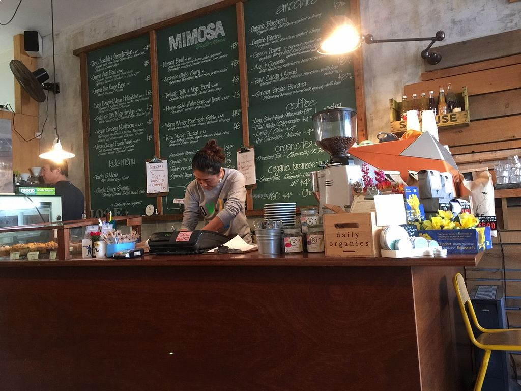 """Photo of Cafe Mimosa  by <a href=""""/members/profile/Vegangelist"""">Vegangelist</a> <br/>The counter <br/> August 22, 2015  - <a href='/contact/abuse/image/61101/114744'>Report</a>"""