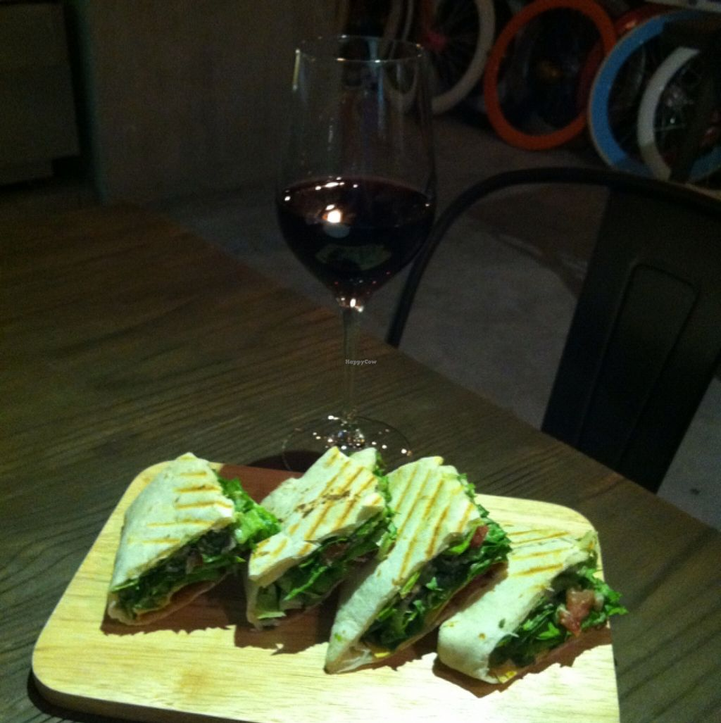 """Photo of Happy Buddha  by <a href=""""/members/profile/blaim"""">blaim</a> <br/>a glass of red wine, and a Mexican seitan wrap <br/> November 22, 2015  - <a href='/contact/abuse/image/61106/125779'>Report</a>"""