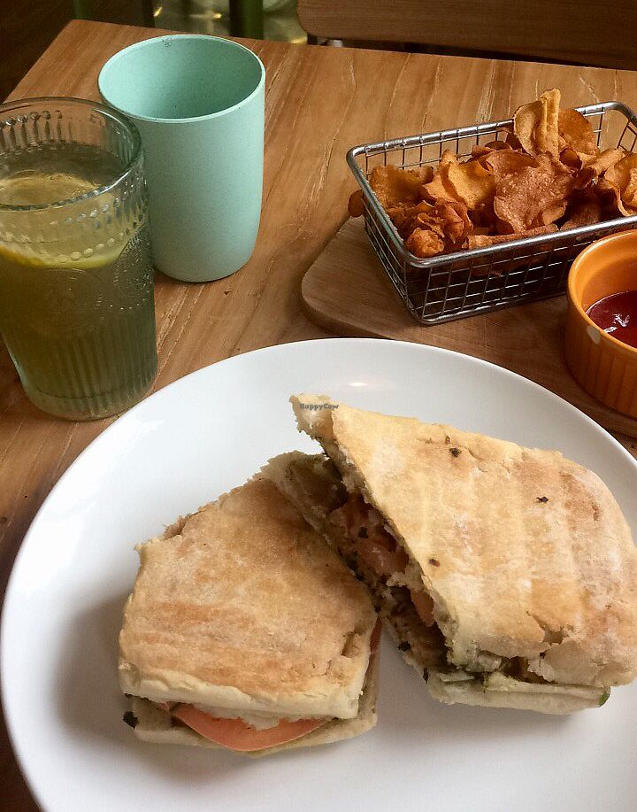 """Photo of Happy Buddha  by <a href=""""/members/profile/thevegscram"""">thevegscram</a> <br/>Pesto Panini and Sweet Potato Chips <br/> December 28, 2017  - <a href='/contact/abuse/image/61106/340013'>Report</a>"""