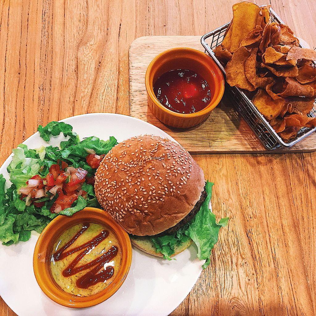"""Photo of Happy Buddha  by <a href=""""/members/profile/sophienthorpe"""">sophienthorpe</a> <br/>Spicy black bean burger <br/> March 19, 2018  - <a href='/contact/abuse/image/61106/372690'>Report</a>"""