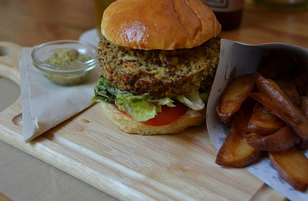 "Photo of Mostassa  by <a href=""/members/profile/Veggiemoi"">Veggiemoi</a> <br/>Quinoa burger with homemade leak-honey mustard....mmmmm <br/> July 26, 2015  - <a href='/contact/abuse/image/61112/111012'>Report</a>"