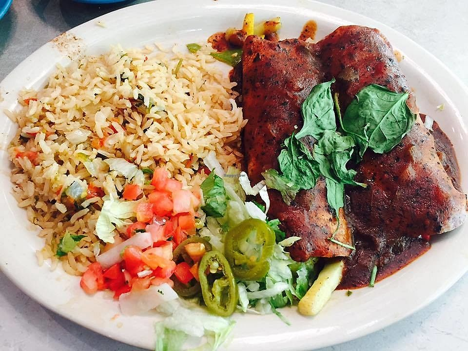 """Photo of Chuy's  by <a href=""""/members/profile/ChristineLee"""">ChristineLee</a> <br/>Veggie enchiladas (no cheese) with ranchero sauce <br/> August 4, 2017  - <a href='/contact/abuse/image/61129/288478'>Report</a>"""