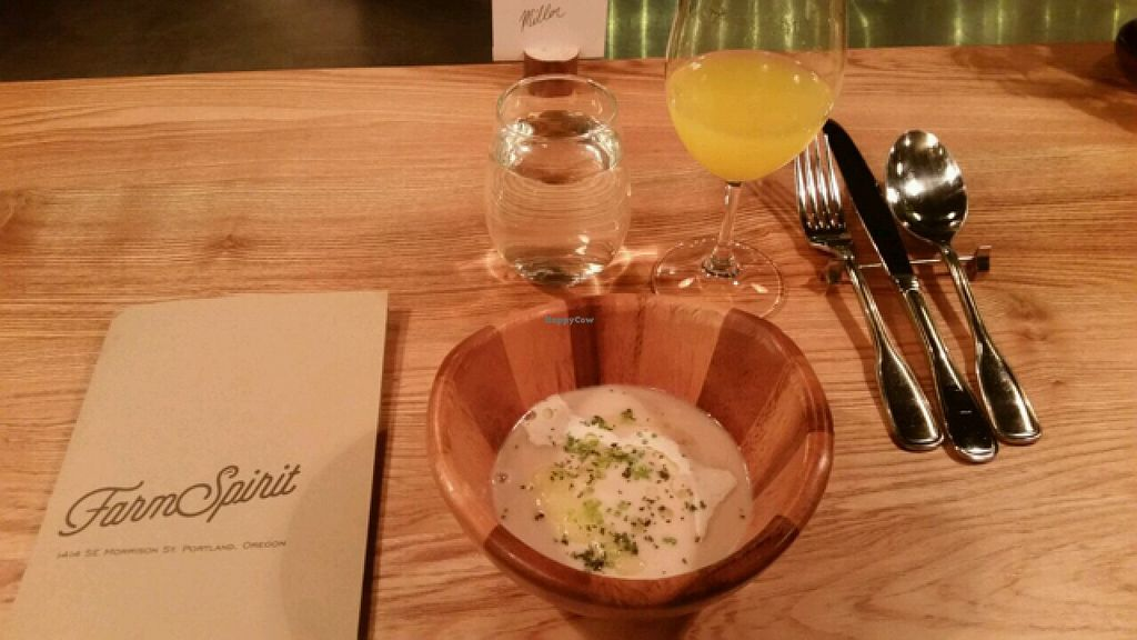 "Photo of Farm Spirit  by <a href=""/members/profile/lindseymiller"">lindseymiller</a> <br/>parsnip soup, coriander yogurt, and apple with a golden beet/ginger/apple juice <br/> February 7, 2016  - <a href='/contact/abuse/image/61130/135374'>Report</a>"