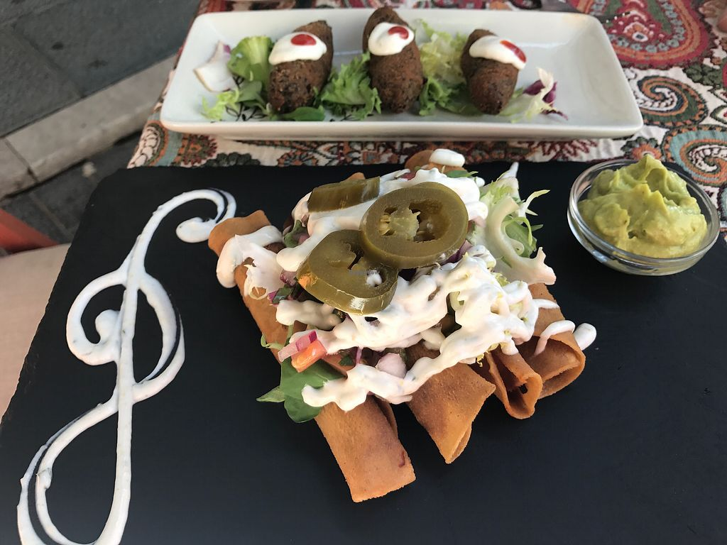 """Photo of Origen  by <a href=""""/members/profile/Jess1ca"""">Jess1ca</a> <br/>vegan tacos and croquettes <br/> July 7, 2017  - <a href='/contact/abuse/image/61152/277458'>Report</a>"""
