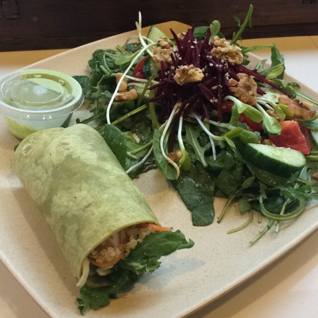 """Photo of Kale Me Crazy  by <a href=""""/members/profile/lindsayhead"""">lindsayhead</a> <br/>vegan wrap + beet salad (with no goat cheese) <br/> May 27, 2016  - <a href='/contact/abuse/image/61172/151054'>Report</a>"""