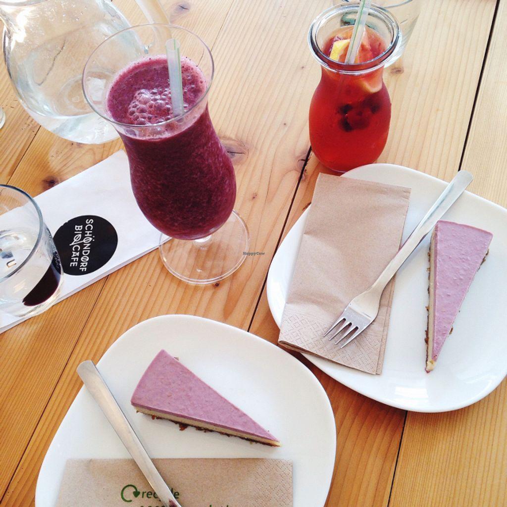 "Photo of Schondorf Bio Cafe  by <a href=""/members/profile/kristinarollo"">kristinarollo</a> <br/>cake smoothie and lemonade <br/> June 20, 2016  - <a href='/contact/abuse/image/61180/155066'>Report</a>"