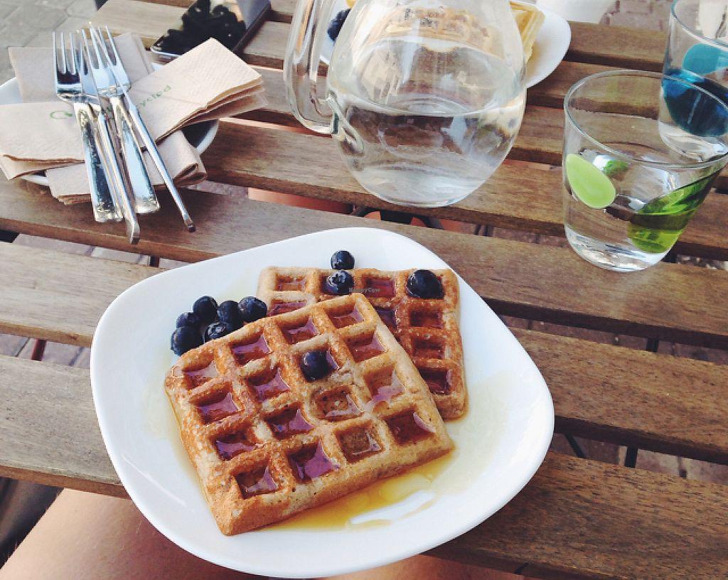 """Photo of Schondorf Bio Cafe  by <a href=""""/members/profile/kristinarollo"""">kristinarollo</a> <br/>vegan waffles  <br/> June 20, 2016  - <a href='/contact/abuse/image/61180/243575'>Report</a>"""