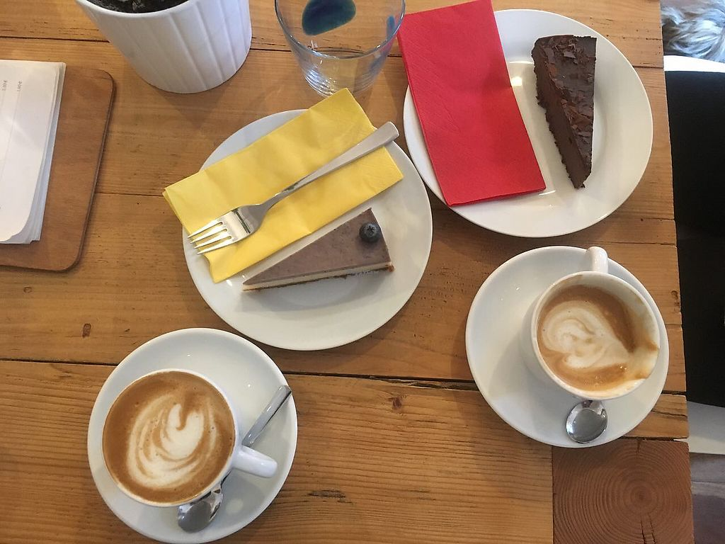 """Photo of Schondorf Bio Cafe  by <a href=""""/members/profile/RiginaSamokhvalova"""">RiginaSamokhvalova</a> <br/>Raw cheesecakes and divine cappuccino with planmilk <br/> December 18, 2017  - <a href='/contact/abuse/image/61180/337045'>Report</a>"""
