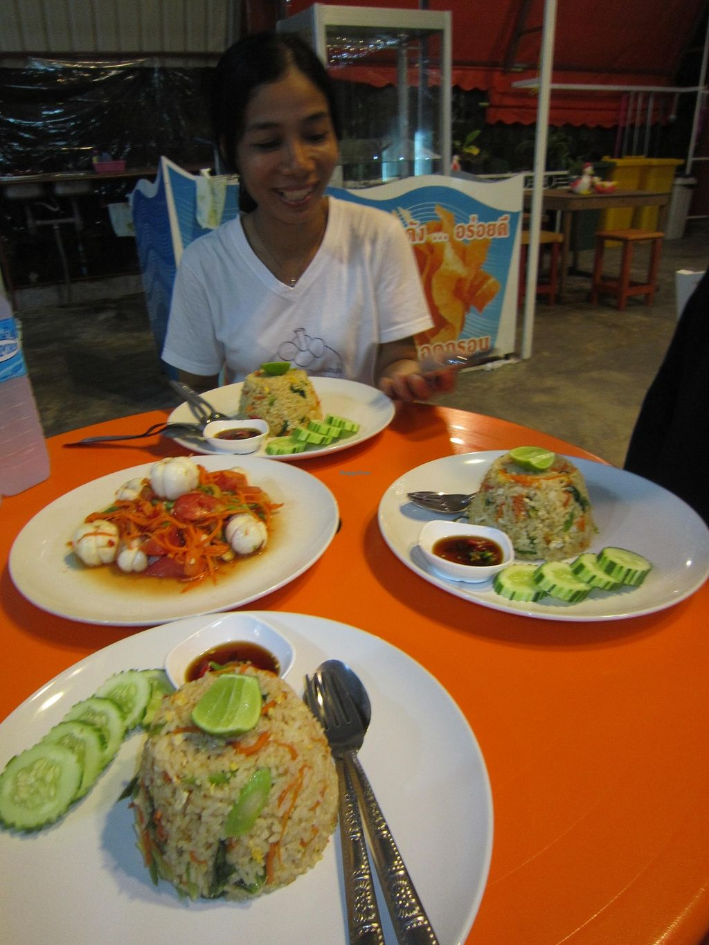 """Photo of CLOSED: Nam Mangosteen Thailand   by <a href=""""/members/profile/IanSmith"""">IanSmith</a> <br/>Chef Nam with forget me not salad and fried rice. So delicious! <br/> September 26, 2015  - <a href='/contact/abuse/image/61185/119164'>Report</a>"""