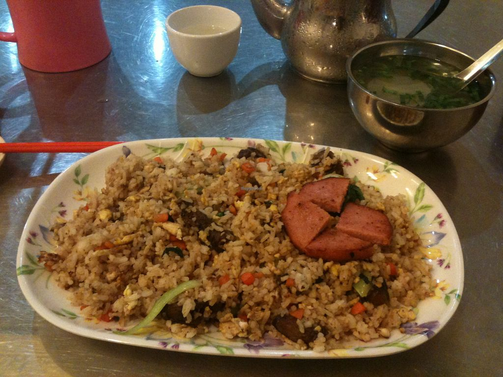 """Photo of Vegetarian 1000  by <a href=""""/members/profile/heloisepe"""">heloisepe</a> <br/>My plate of rice. Simple and good food (egg and fake meat) <br/> July 27, 2015  - <a href='/contact/abuse/image/61187/111254'>Report</a>"""