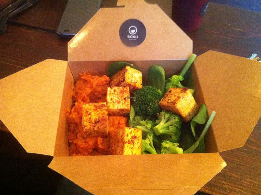 """Photo of Bosu Body Bar  by <a href=""""/members/profile/J-Veg"""">J-Veg</a> <br/>Tofu, sweet mash, brocolli and spinach. I realised later that you can add as many sides as you like! <br/> July 28, 2015  - <a href='/contact/abuse/image/61204/111283'>Report</a>"""