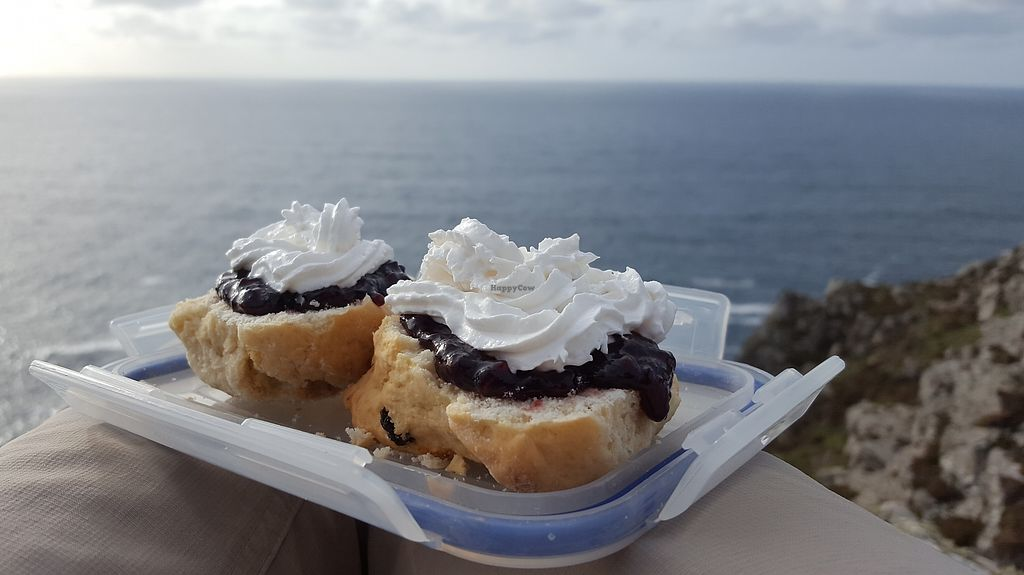 """Photo of Pengenna Pasties  by <a href=""""/members/profile/VeganAnnaS"""">VeganAnnaS</a> <br/>Homemade vegan cream tea with scones from Pengenna <br/> October 14, 2017  - <a href='/contact/abuse/image/61238/315117'>Report</a>"""