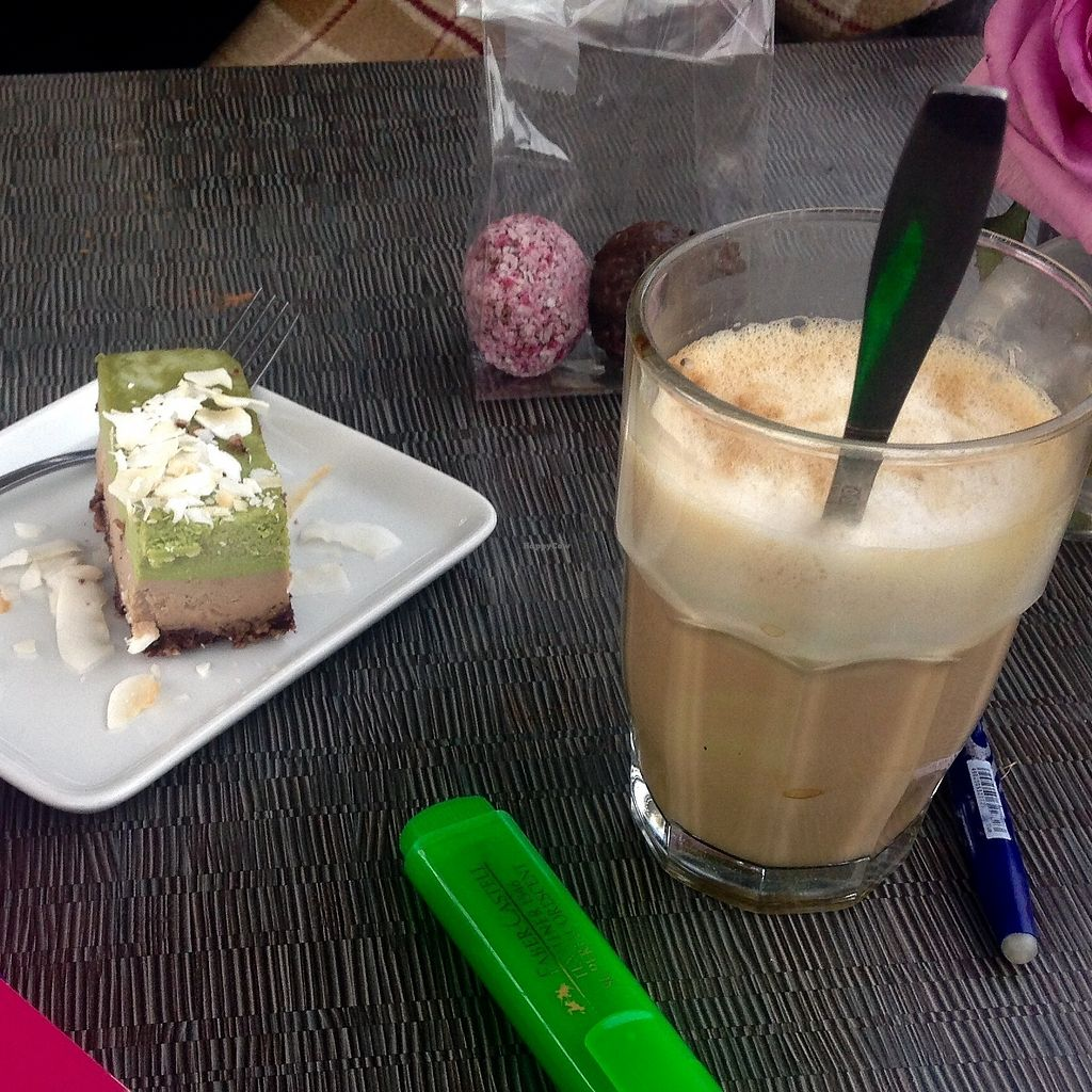 """Photo of Open New Doors  by <a href=""""/members/profile/LouisaWiethold"""">LouisaWiethold</a> <br/>Raw Matcha ? ☕️ cake ? and a vegan coffee. What do you need more to start enjoying autum ?  <br/> September 19, 2017  - <a href='/contact/abuse/image/61245/306066'>Report</a>"""