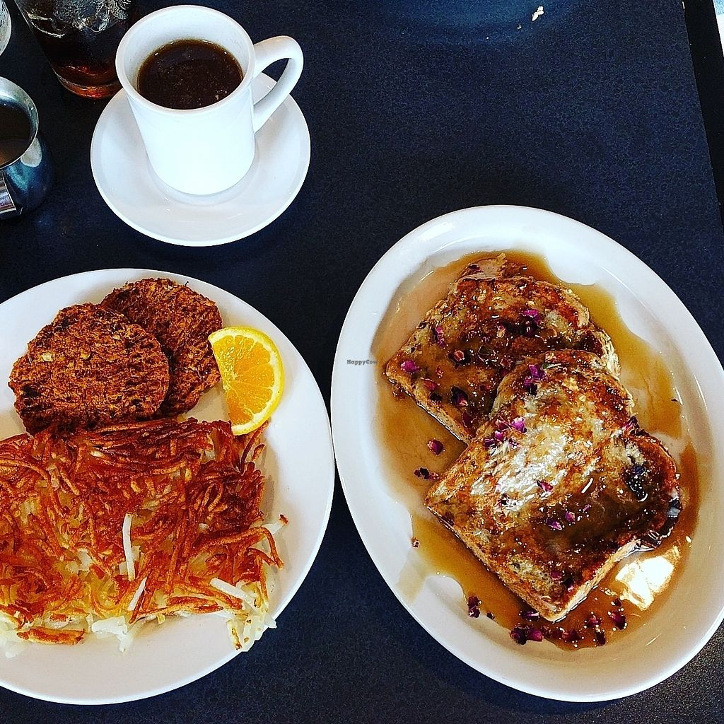 """Photo of Hackberry's Bistro  by <a href=""""/members/profile/Madiecakes"""">Madiecakes</a> <br/>Vegan french toast with hashbrowns and vegan sausage <br/> July 22, 2017  - <a href='/contact/abuse/image/61261/283077'>Report</a>"""