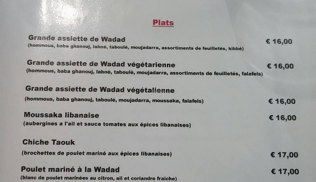 """Photo of CLOSED: La Cuisine de Wadad  by <a href=""""/members/profile/BlisterBlue"""">BlisterBlue</a> <br/>Menu with the 'assiette végétalienne', 100% vegan <br/> July 30, 2015  - <a href='/contact/abuse/image/61301/111567'>Report</a>"""