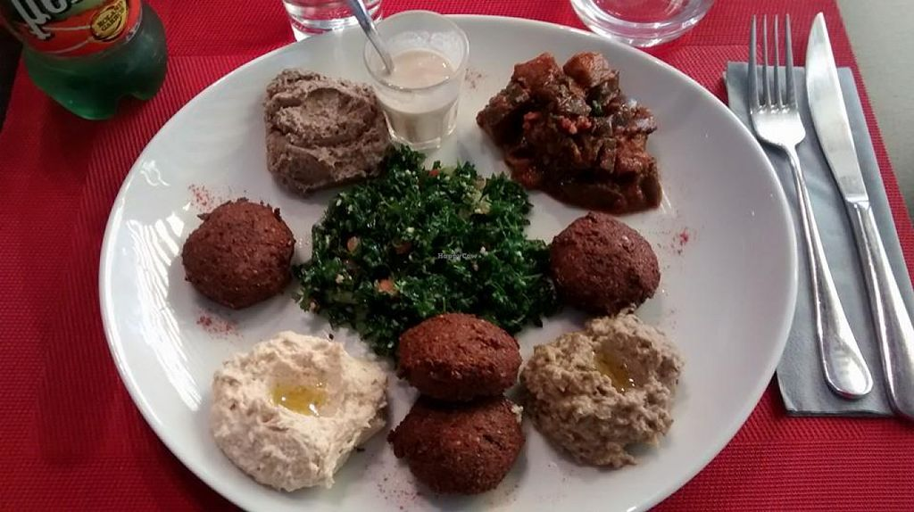 """Photo of CLOSED: La Cuisine de Wadad  by <a href=""""/members/profile/BlisterBlue"""">BlisterBlue</a> <br/>100% vegan dish: hummus, taboule, falafels <br/> July 30, 2015  - <a href='/contact/abuse/image/61301/111568'>Report</a>"""