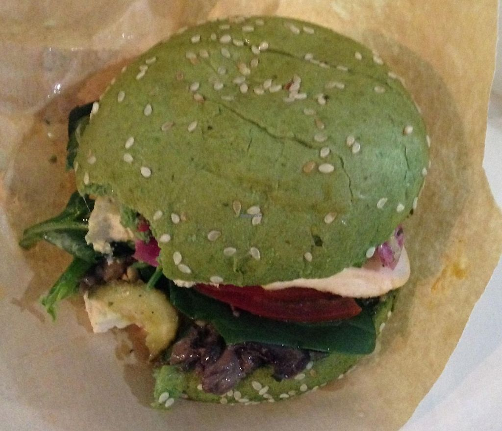 "Photo of Green 13 Cafe - Besarabsky Market  by <a href=""/members/profile/scratchgrey"">scratchgrey</a> <br/>Green13 - spinach bun with grilled tofu, mushrooms and much more! <br/> April 26, 2016  - <a href='/contact/abuse/image/61303/243878'>Report</a>"
