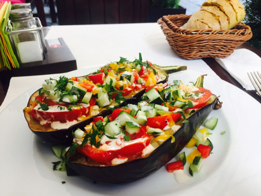 """Photo of Aubergine  by <a href=""""/members/profile/I_love_pears"""">I_love_pears</a> <br/>Vegan eggplant (only vegan main). it was hearty and delicious!  <br/> July 11, 2016  - <a href='/contact/abuse/image/61324/159223'>Report</a>"""
