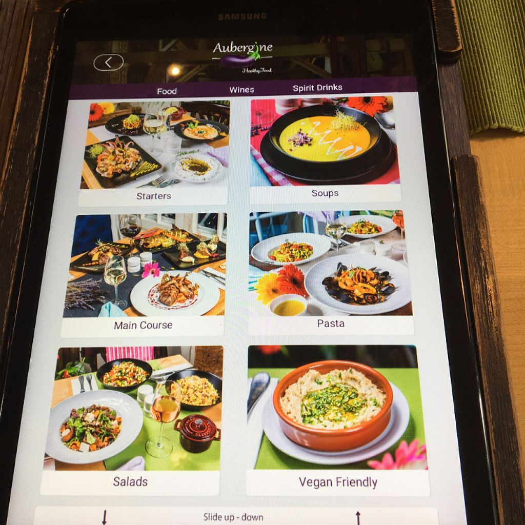 """Photo of Aubergine  by <a href=""""/members/profile/KelseyHudspeth"""">KelseyHudspeth</a> <br/>high tech menus with vegan tab <br/> March 12, 2017  - <a href='/contact/abuse/image/61324/235394'>Report</a>"""