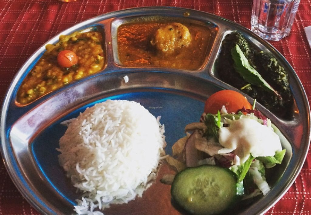 "Photo of Holy Cow - Soder  by <a href=""/members/profile/mushymush"">mushymush</a> <br/>vegan thali and tikka masala <br/> August 22, 2015  - <a href='/contact/abuse/image/61371/246115'>Report</a>"