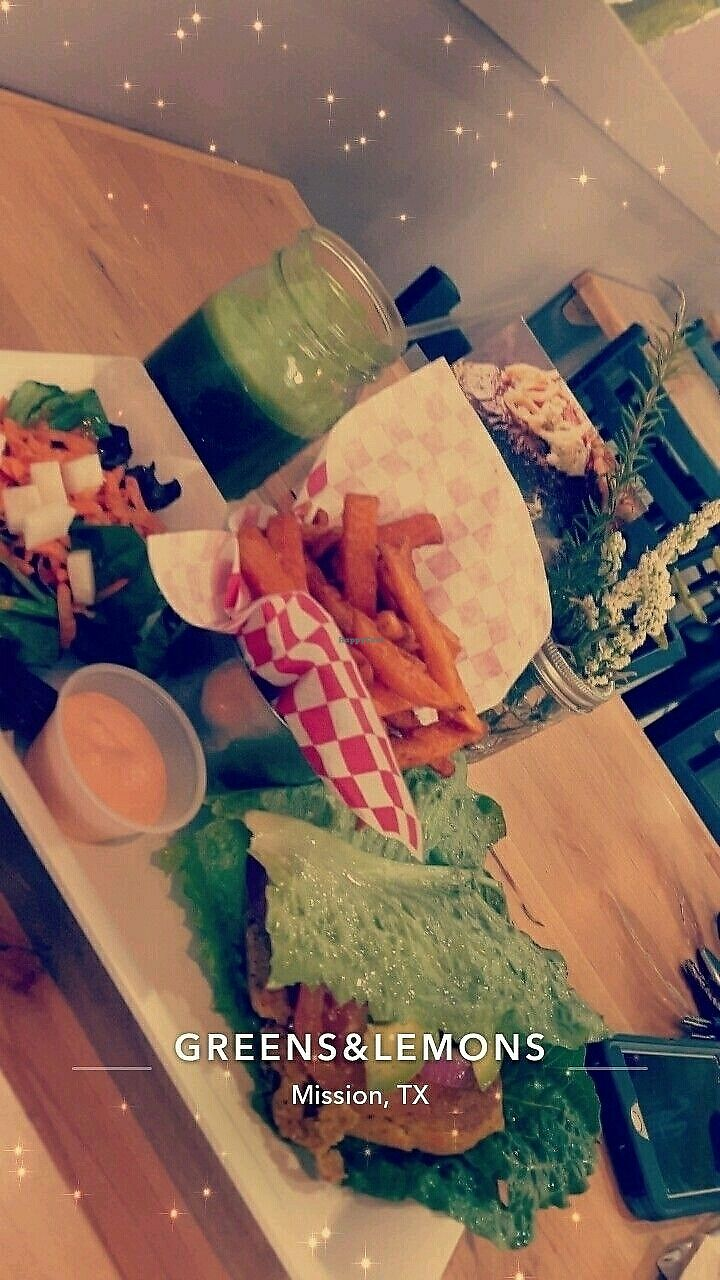 """Photo of Greens and Lemons  by <a href=""""/members/profile/Becka"""">Becka</a> <br/>Quinoa Burger on Lettuce with Sweet Potato Fries and a Side Salad <br/> July 16, 2017  - <a href='/contact/abuse/image/61381/280862'>Report</a>"""