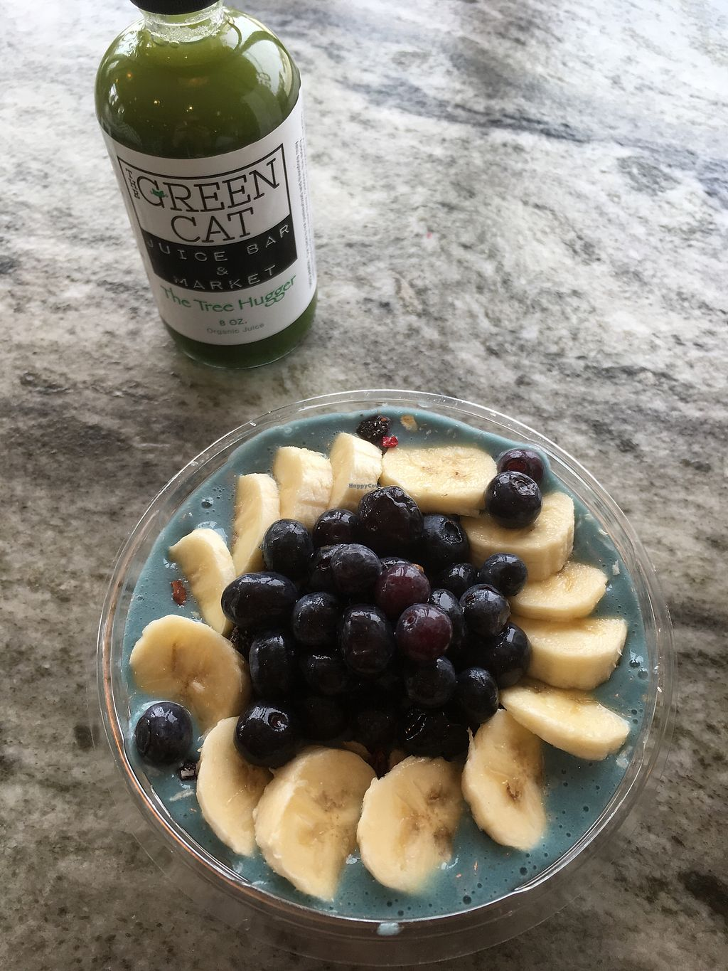 "Photo of The Green Cat  by <a href=""/members/profile/Beshnay"">Beshnay</a> <br/>the blue majik bowl with ""the tree hugger"" juice  <br/> March 30, 2018  - <a href='/contact/abuse/image/61397/378373'>Report</a>"