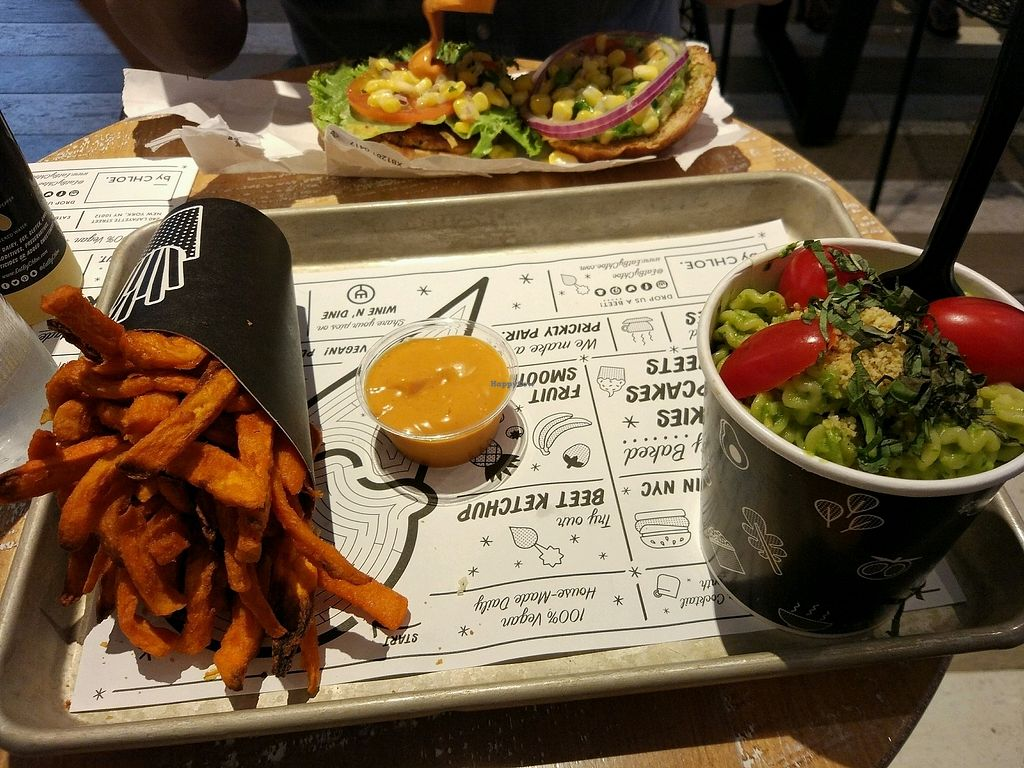 """Photo of By Chloe - Washington Square Park  by <a href=""""/members/profile/SoniaR"""">SoniaR</a> <br/>avocado pesto pasta, french fries <br/> December 22, 2017  - <a href='/contact/abuse/image/61421/337948'>Report</a>"""