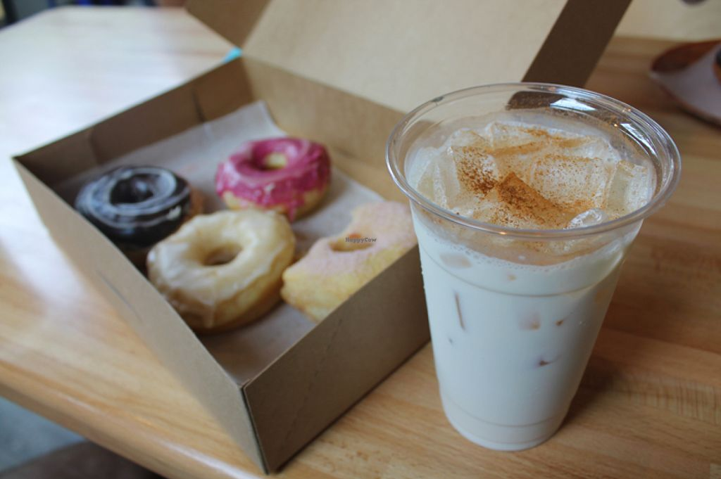 "Photo of Vortex Doughnuts  by <a href=""/members/profile/Raesock"">Raesock</a> <br/>vegan yeast doughnuts and a vegan chai <br/> August 3, 2015  - <a href='/contact/abuse/image/61456/112133'>Report</a>"