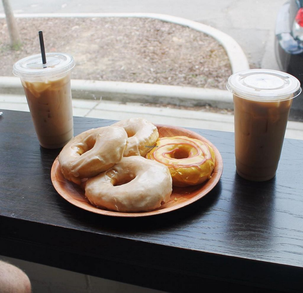 "Photo of Vortex Doughnuts  by <a href=""/members/profile/Raesock"">Raesock</a> <br/>Plate of donuts and almond milk lattes <br/> June 24, 2016  - <a href='/contact/abuse/image/61456/155853'>Report</a>"