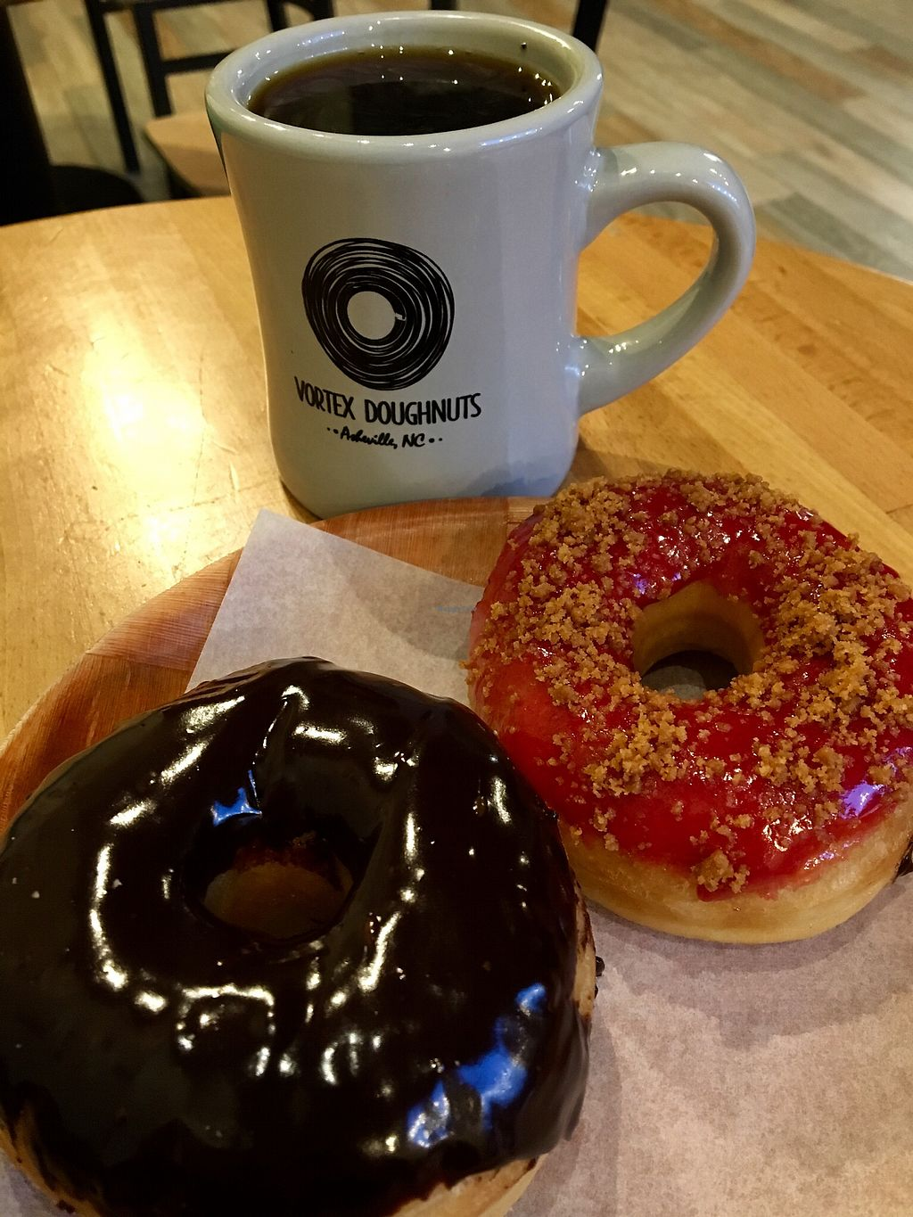 "Photo of Vortex Doughnuts  by <a href=""/members/profile/Thepennsyltuckyvegan"">Thepennsyltuckyvegan</a> <br/>Chocolate and Raspberry Crumble <br/> March 15, 2018  - <a href='/contact/abuse/image/61456/371138'>Report</a>"