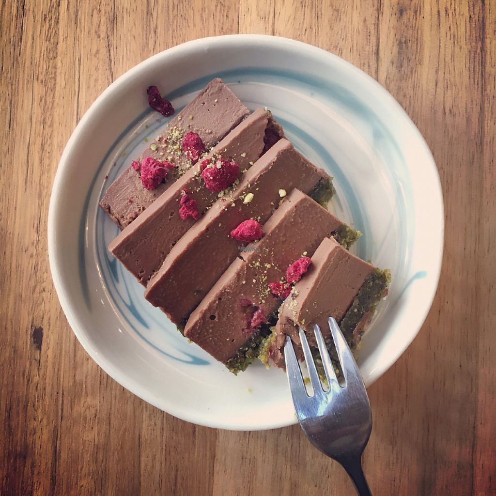 "Photo of Pana Chocolate  by <a href=""/members/profile/Necia11"">Necia11</a> <br/>Choc Raspberry Pistachio <br/> April 22, 2017  - <a href='/contact/abuse/image/61475/251236'>Report</a>"