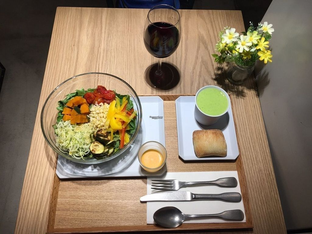 """Photo of Citron  by <a href=""""/members/profile/Veggiechiliqueen"""">Veggiechiliqueen</a> <br/>Salade Citron, organic red wine from Languedoc, green pea soymilk potage  <br/> August 16, 2016  - <a href='/contact/abuse/image/61483/169331'>Report</a>"""