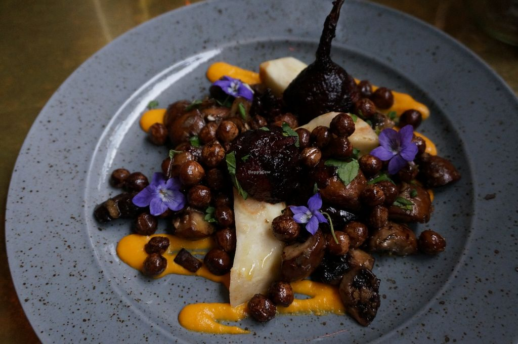 """Photo of CLOSED: Green Peas - Fridhemsplan  by <a href=""""/members/profile/Ricardo"""">Ricardo</a> <br/>Roasted Beetroot w/ Horseradish sauce. Wild mushrooms, celery root and gray peas <br/> May 19, 2016  - <a href='/contact/abuse/image/61485/149852'>Report</a>"""