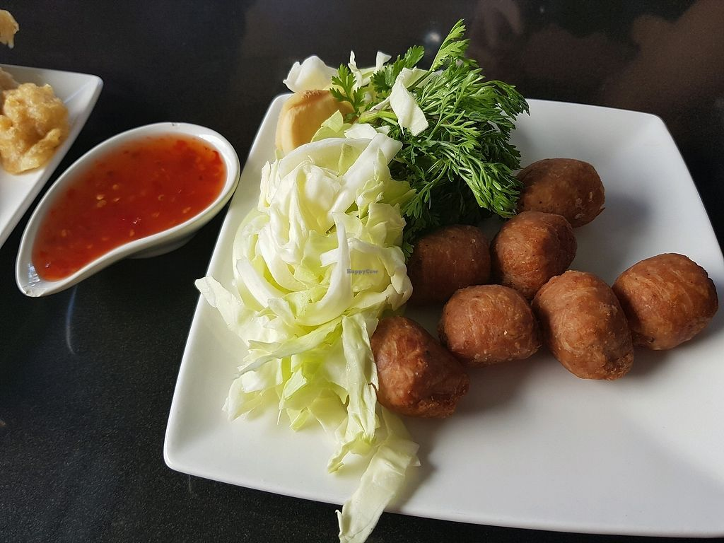 """Photo of Guan Im Veggie  by <a href=""""/members/profile/Peiyan"""">Peiyan</a> <br/>vegan sai krok (Isaan sausages) <br/> December 28, 2017  - <a href='/contact/abuse/image/61487/339791'>Report</a>"""