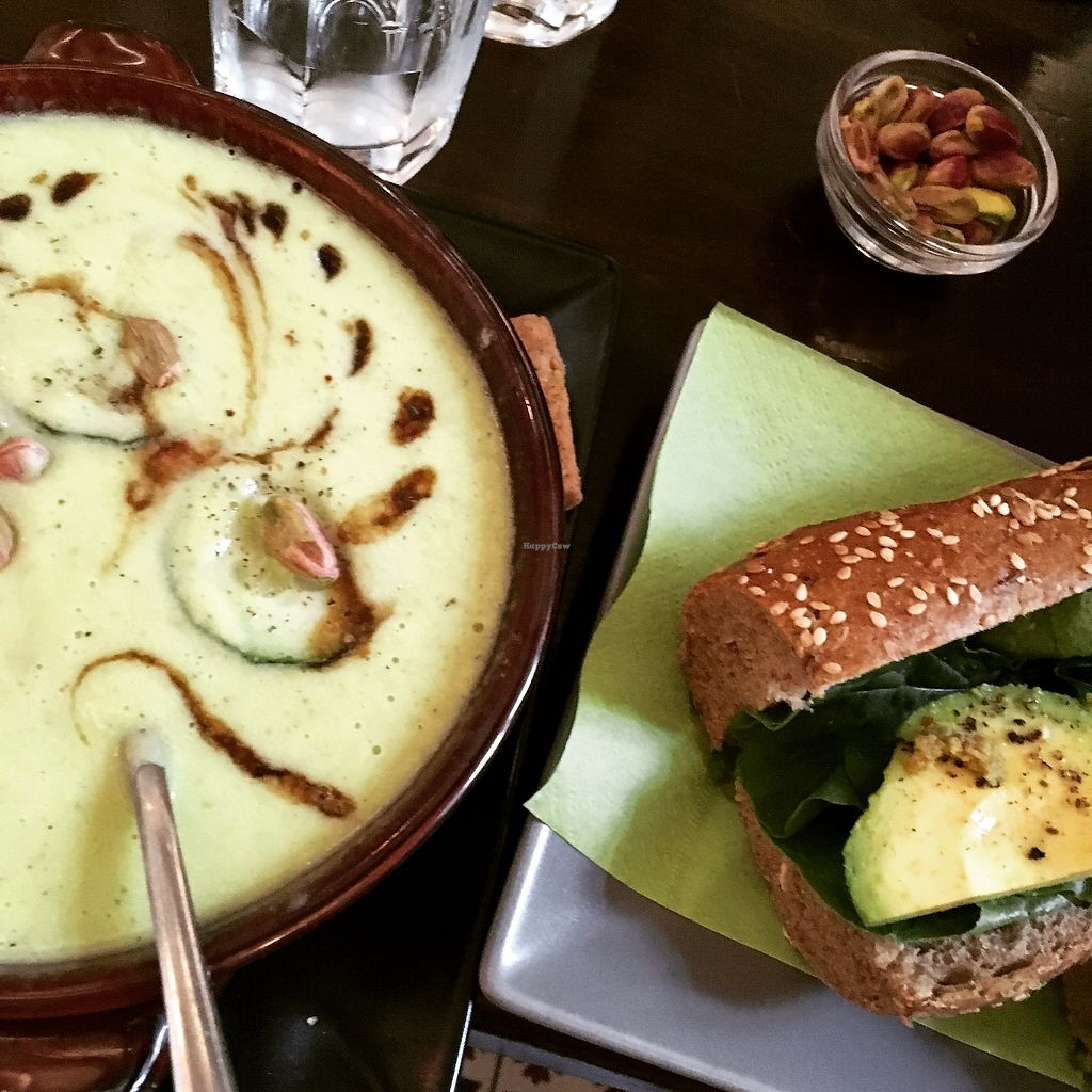 """Photo of Sativa Music Bar  by <a href=""""/members/profile/flamekat"""">flamekat</a> <br/>Cucumber avocado soup with avocado baguette <br/> September 3, 2017  - <a href='/contact/abuse/image/61490/300368'>Report</a>"""