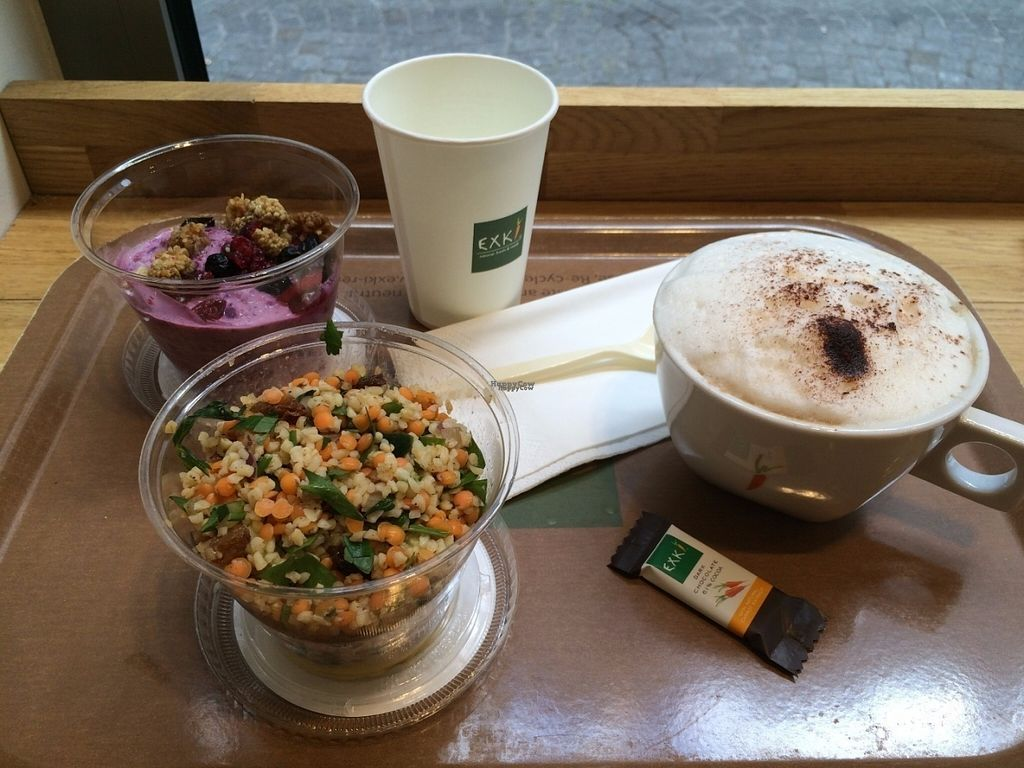 """Photo of EXKi - Montorgueil  by <a href=""""/members/profile/LisaCupcake"""">LisaCupcake</a> <br/>A curry and bulgur salad, muesli with a kind of yogurt, and cappuccino <br/> August 10, 2016  - <a href='/contact/abuse/image/61505/167419'>Report</a>"""