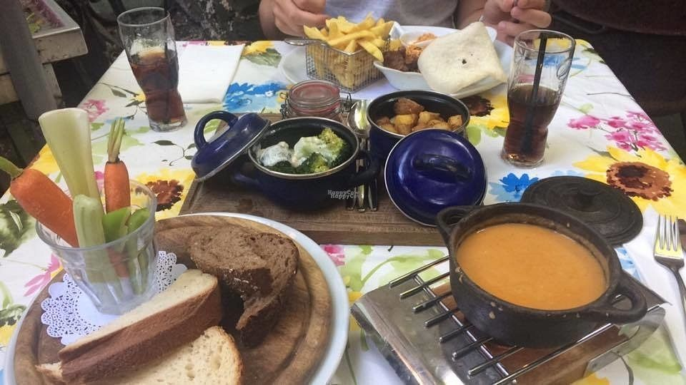 """Photo of Eetcafe Spinoza  by <a href=""""/members/profile/IrisVenema"""">IrisVenema</a> <br/>Vegan cheesefondue made of made from chickpeas and peppers <br/> October 22, 2016  - <a href='/contact/abuse/image/61547/183621'>Report</a>"""
