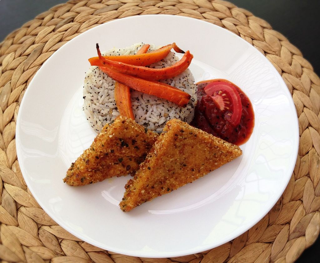 """Photo of RepaRetek  by <a href=""""/members/profile/reparetek"""">reparetek</a> <br/>Burmese fried chickpea slices with tomato chutney, jasmine rice and roasted carrots <br/> August 23, 2015  - <a href='/contact/abuse/image/61582/114813'>Report</a>"""