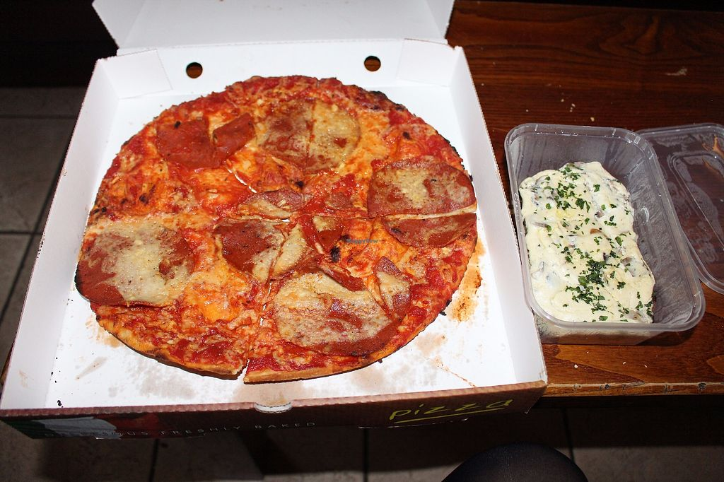 "Photo of NovaPizza Vegetarian Kitchen  by <a href=""/members/profile/ericacrombie"">ericacrombie</a> <br/>Pepperoni pizza and four-cheese bruschetta (vegan)  <br/> September 26, 2017  - <a href='/contact/abuse/image/61590/308640'>Report</a>"