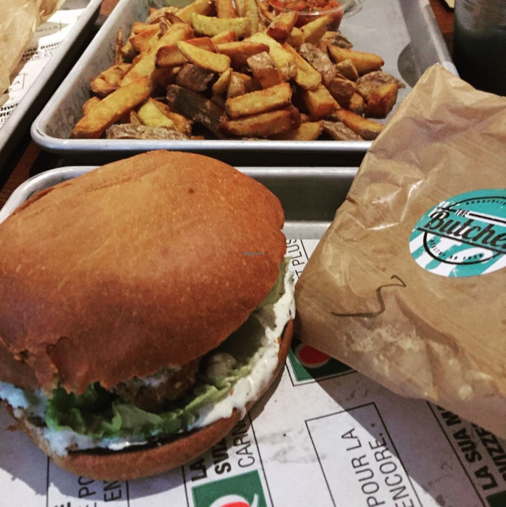 """Photo of The Butcher  by <a href=""""/members/profile/Eightsteps"""">Eightsteps</a> <br/>Vegan Falafel-burger <br/> January 7, 2016  - <a href='/contact/abuse/image/61631/131377'>Report</a>"""
