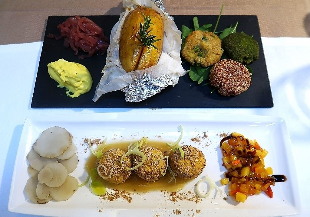 """Photo of Flora  by <a href=""""/members/profile/AVeganVisit.com"""">AVeganVisit.com</a> <br/>Trio of burgers (top) Crunchy apple tofu balls (bottom) <br/> February 26, 2018  - <a href='/contact/abuse/image/61632/364223'>Report</a>"""