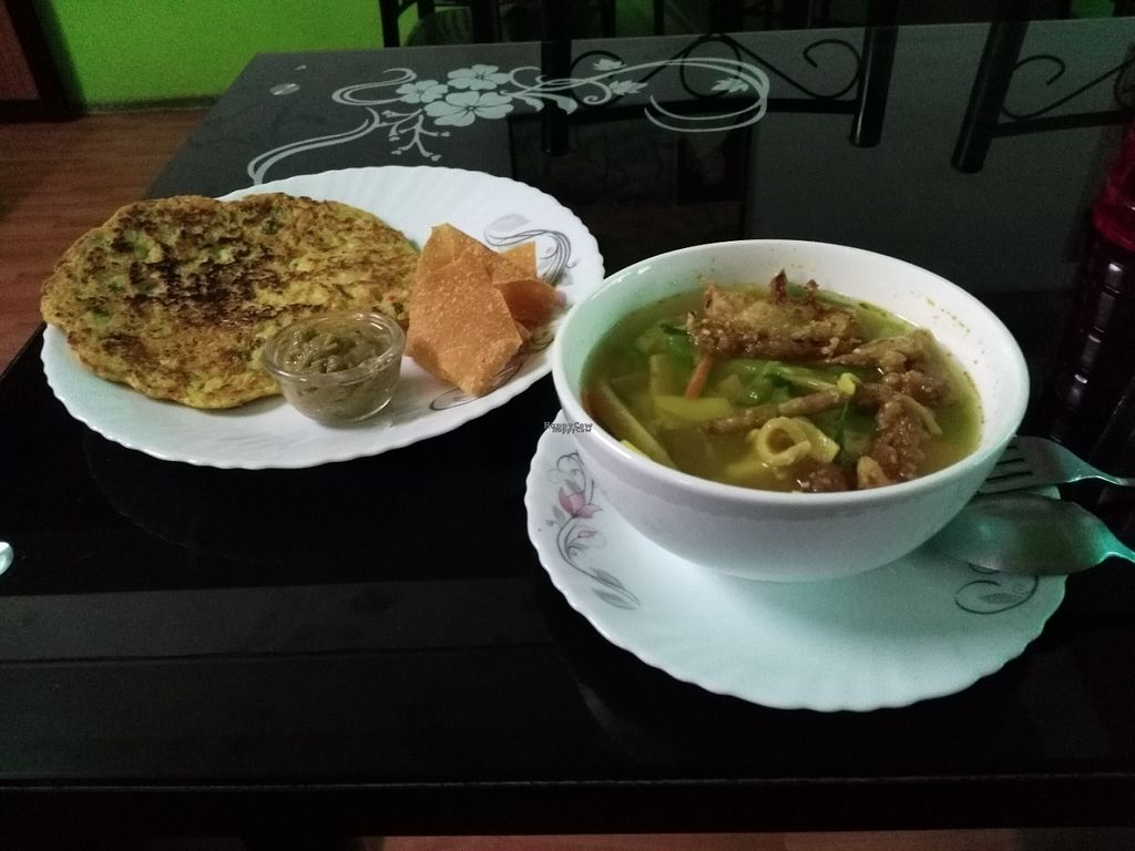 """Photo of CLOSED: Loving Heart  by <a href=""""/members/profile/Gilogie"""">Gilogie</a> <br/>On left : tofu veggie omelet with nacho On right : soup veggie tofu, mushroom, thanduk <br/> September 5, 2016  - <a href='/contact/abuse/image/61646/173697'>Report</a>"""
