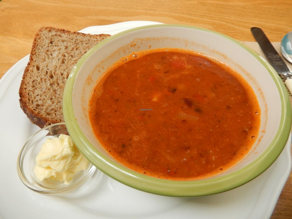 """Photo of Oats Healthy Living Store  by <a href=""""/members/profile/CLRtraveller"""">CLRtraveller</a> <br/>Mexican bean-tomato soup with spelt bread and veg spread <br/> August 9, 2015  - <a href='/contact/abuse/image/61674/112829'>Report</a>"""