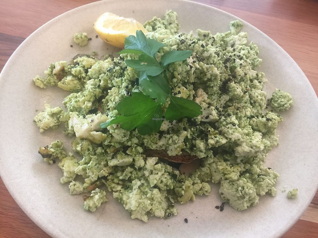"Photo of Eka Wholefoods & Cafe  by <a href=""/members/profile/Tiggy"">Tiggy</a> <br/>Vegan pesto scrambled tofu with avocado extra ($16.50+$2) - bland <br/> October 8, 2017  - <a href='/contact/abuse/image/61727/312965'>Report</a>"