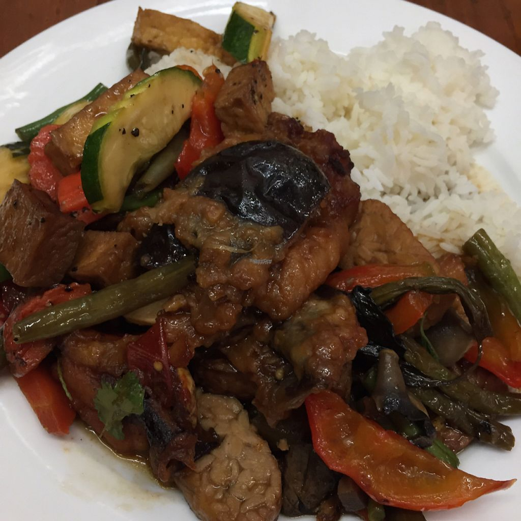 """Photo of Blossoming Lotus  by <a href=""""/members/profile/leonardhall"""">leonardhall</a> <br/>tempeh eggplant mixed veg <br/> December 23, 2016  - <a href='/contact/abuse/image/6173/204274'>Report</a>"""
