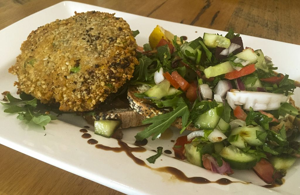 """Photo of The Laughing Owl  by <a href=""""/members/profile/karlaess"""">karlaess</a> <br/>Veggie burger (Vegan) <br/> August 26, 2015  - <a href='/contact/abuse/image/61779/115319'>Report</a>"""