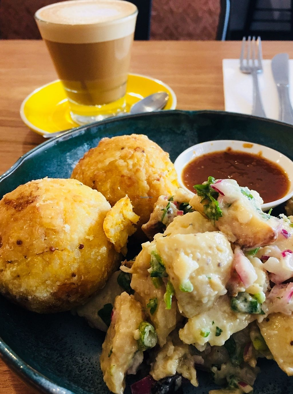 """Photo of The Laughing Owl  by <a href=""""/members/profile/karlaess"""">karlaess</a> <br/>Vegan arancini balls with potato salad <br/> October 16, 2017  - <a href='/contact/abuse/image/61779/315747'>Report</a>"""